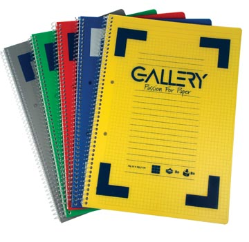Gallery Traditional spiraalschrift ft A4, gelijnd, geassorteerde kleuren, 160 bladzijden