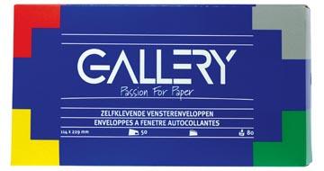 Gallery enveloppen ft 114 x 229 mm, met venster rechts, stripsluiting, doos van 50 stuks