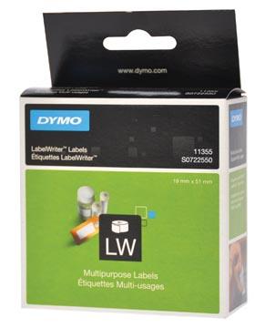 Dymo etiketten LabelWriter ft 19 x 51 mm, verwijderbaar, wit, 500 etiketten