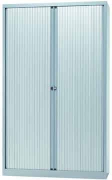 Bisley roldeurkast, ft 198 x 120 x 43 cm (h x b x d), 4 legborden, zilverkleurig