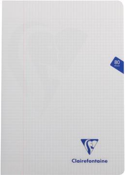 Clairefontaine schrift mimesys voor ft A4, 80 bladzijden, kaft in PP, geruit 5 mm, geassorteerde kleuren