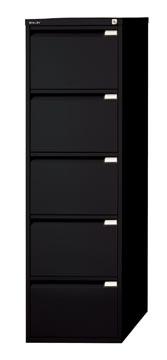 Bisley hangmappenkast, ft 151 x 47 x 62,2 cm (h x b x d), 5 laden, zwart