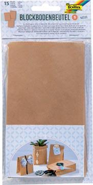Folia papieren zak, 100 x 55 x 175 mm, pak van 15 stuks, kraft