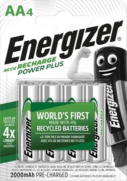 Energizer herlaadbare batterijen Power Plus AA, blister van 4 stuks