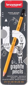 Bruyzeel potlood, blikken doos met 6 stuks in geassorteerde hardheden