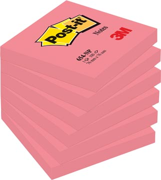 Post-it Notes, ft 76 x 76 mm, neonroze, blok van 100 vel