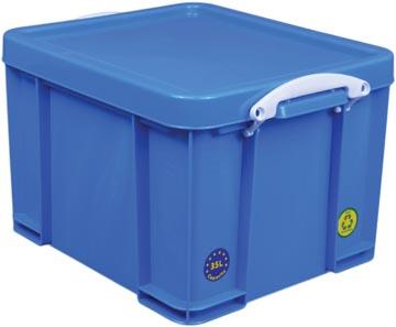 Really Useful Box opbergdoos 35 liter, neonblauw met witte handvaten